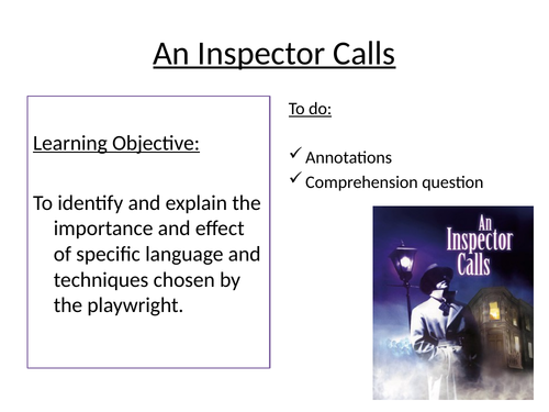 An Inspector Calls Annotations pages 1-16