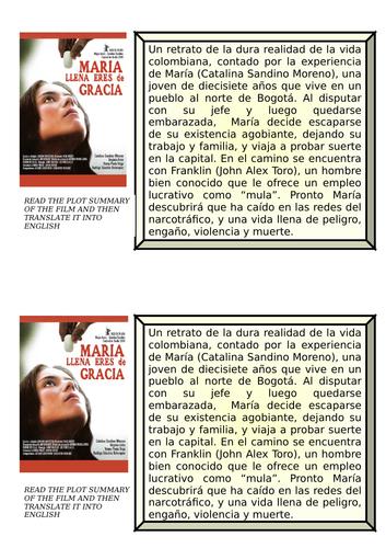MARÍA LLENA ERES DE GRACIA - THREE A- LEVEL LANGUAGE TASKS