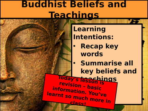 AQA GCSE RS - Buddhism - Beliefs - Revision Lessons - 2/3 lessons