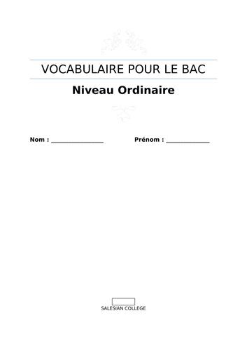 Vocabulaire pour le Bac (Niveau Ordinaire) - French Vocab booklet for senior cycle
