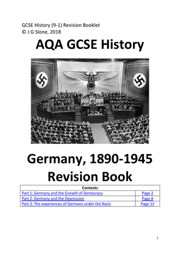 AQA GCSE History (9-1) Germany 1890-1945: Detailed Notes  / Revision Book