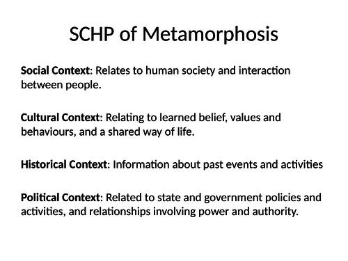 Metamorphosis - Social, Cultural, Historical Contexts