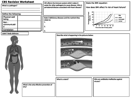 HEALTH AND DISEASE REVISION ACTIVITY EDEXCEL 9-1