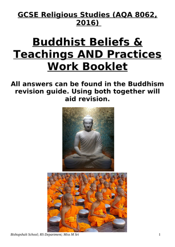 Buddhism (Beliefs & Practices) REVISION WORK BOOKLET; AQA 8062 New Spec (2016)