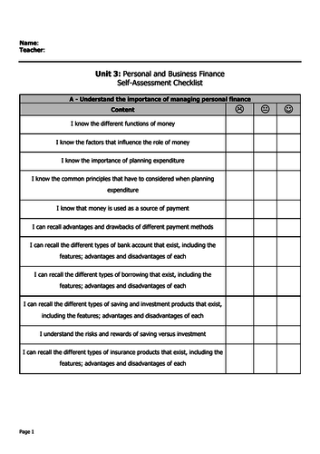 Unit 3 - Personal and Business Finance (Unit Content Self Assessment)