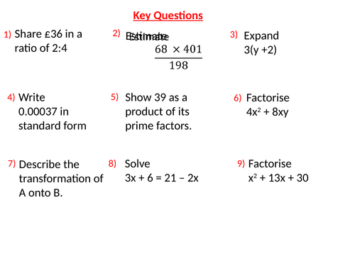 GCSE Maths Revision Starters - Key Skills/Topics - Higher/Intermediate Tier