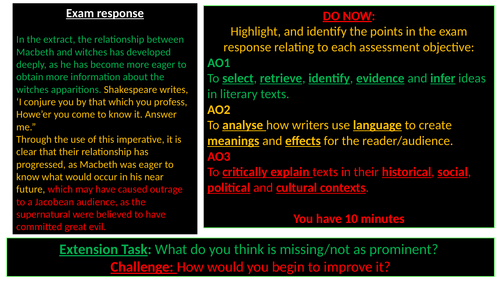Macbeth GCSE Revision Outstanding Observation Lesson