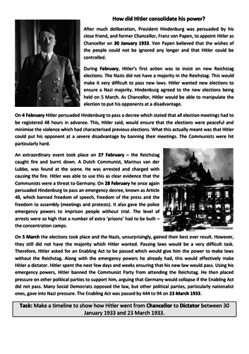 GCSE History (9-1) Germany: Reichstag Fire and Enabling Act TIMELINE TASK