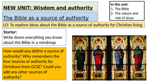 A-level Religious Studies EDEXCEL (4B: Christianity)-full resources for topic 2 Wisdom and Authority