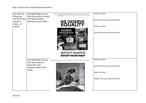 Bank of exam questions: Civil Rights and Vietnam (USA) paper 3 Edexcel 9-1 GCSE History