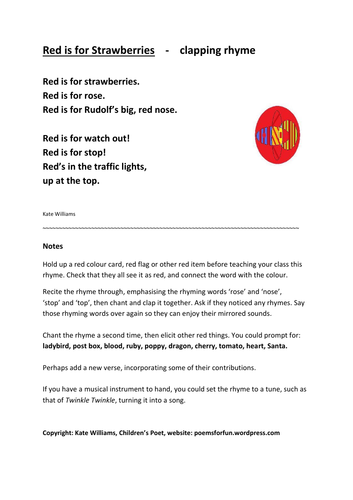 2 COLOUR RHYMES to clap, chant, act, embellish, EY/KS1