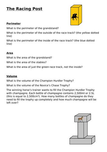 Horse racing- themed challenge on perimeter, area and volume (Upper KS2 / Lower KS3)
