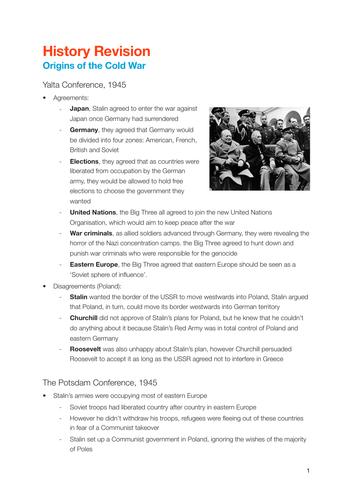 CAMBRIDGE IGCSE History - Cold War notes