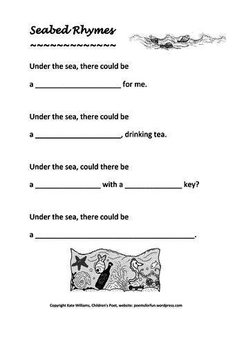 'Seabed Rhymes' - fun rhyming couplet frames, KS2