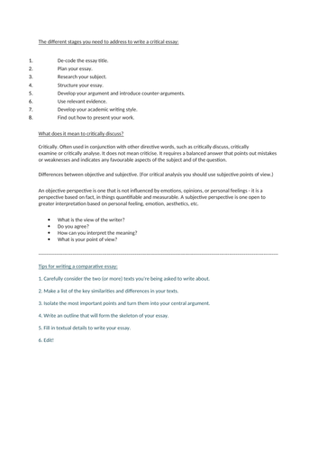 critical essay writing skills suitable for KS4-5