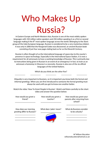 Middle school russian resources culture who makes up russia m4hsunfo