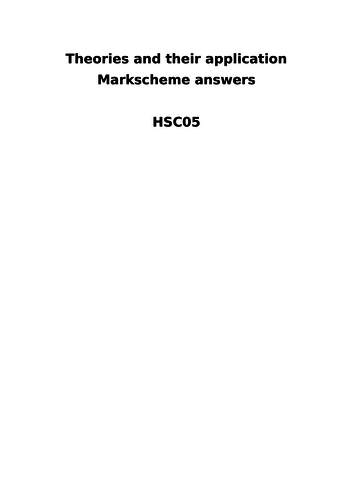 HSC05 AQA Health and social expected answers revision booklet