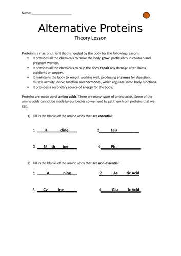 GCSE Alternative Proteins Differentiated Worksheets