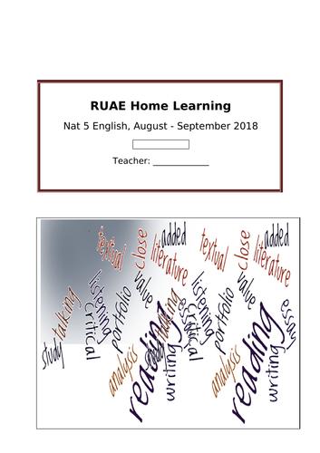 National 5 and Higher RUAE / Close Reading Homework Tasks