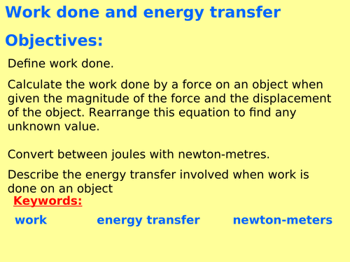 New AQA P5 3 (New Physics spec 4 5 - exams 2018) - Work done and energy  transfer