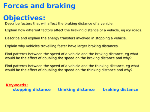 New AQA P5.14 (New Physics spec 4.5 - exams 2018) - Braking forces and factors affecting it