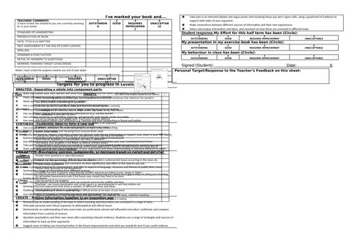 RE marking and feedback sheet - KS3 & KS4