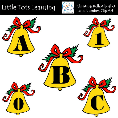 Alphabet and Numbers Clip Art - Christmas Bells - Commercial Use