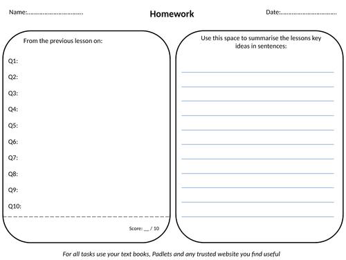 Flipped Learning Homework Template By Richardstedmunds Teaching
