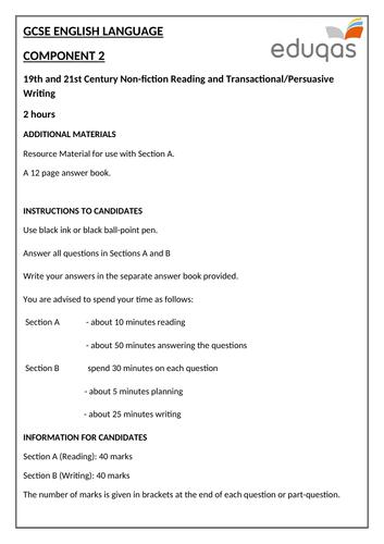 Eduqas GCSE English Language - Component 2 - Practice Examination Paper (Reading and Writing - Non-F