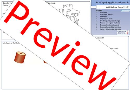 New AQA (2016) Biology B4 Organising Animals and Plants - Revision Sheet