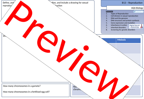 New AQA (2016) Biology B13 Reproduction - Revision Sheet