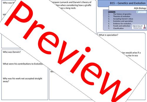 New AQA (2016) Biology B15 Genetics and Evolution - Revision Sheet