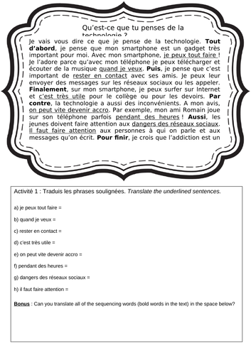 French pros and cons of technology KS3-4