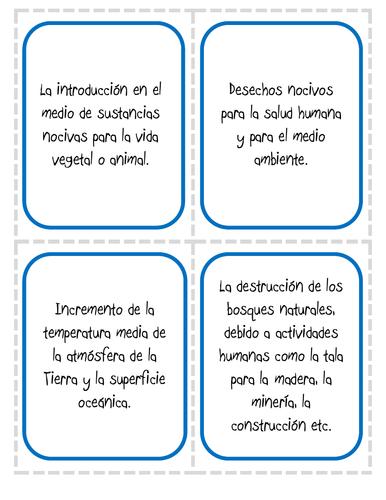 El medio ambiente (Definiciones) - Juegos de preguntas encadenadas y de correspondencias