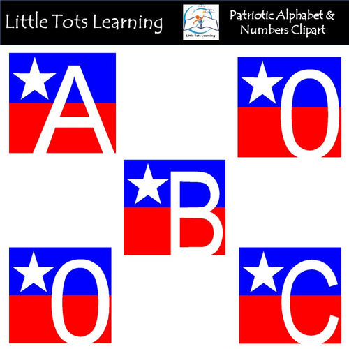 Patriotic Alphabet and Numbers Clip Art - Commercial Use