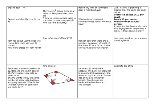 GCSE Maths 9-1 Revision grids