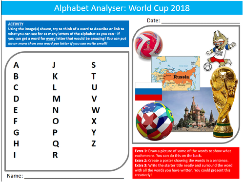 World Cup 2018 Alphabet Analyser Sheet Starter Activity Keywords Cover PE Sport