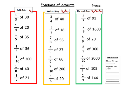 fractions of amounts differentiated worksheet by msmmaths teaching resources. Black Bedroom Furniture Sets. Home Design Ideas