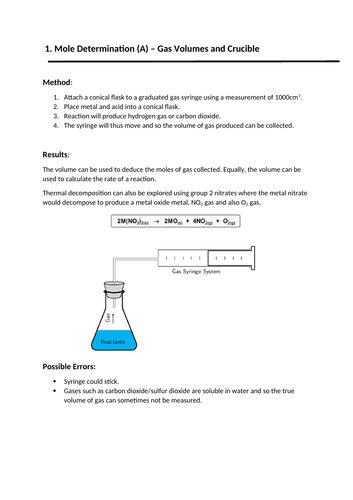 OCR A LEVEL CHEMISTRY -  REQUIRED PRACTICAL SUMMARY BOOKLET