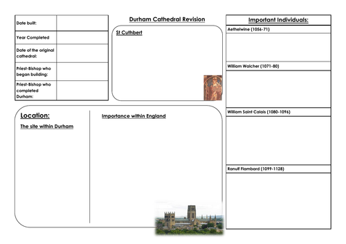 Durham Cathedral Revision Sheet - AQA GCSE History