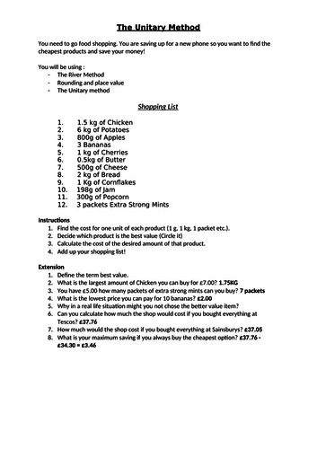 GCSE Ratio: Unitary Method Shopping Worksheet