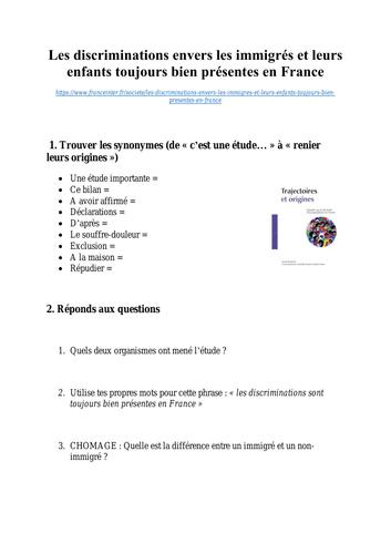 Les discriminations envers les immigrés et leurs enfants toujours bien présentes en France