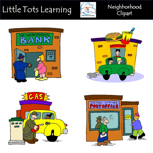 Neighborhood Clip Art - Town Clip Art - Commercial Use
