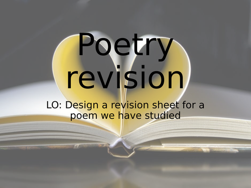 Poetry revision worksheets