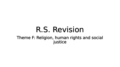 RS 9 - 1 GCSE Religious studies Theme F, Religion human rights and social justice revision workbook