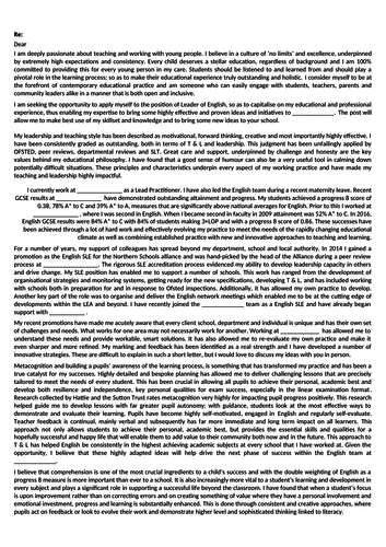 covering letter for English Head of Faculty department job interview supporting