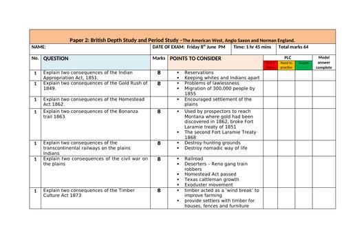 History Edexcel 9-1 Bank of American West practice exam questions