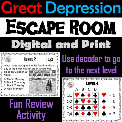 Great Depression: Escape Room - Social Studies   Teaching ...