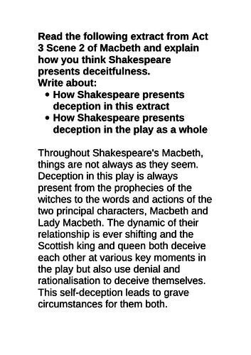 Grade 9 Macbeth exemplar essay deception