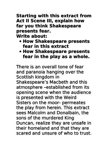 Grade 9 Macbeth Exemplar essay Fear